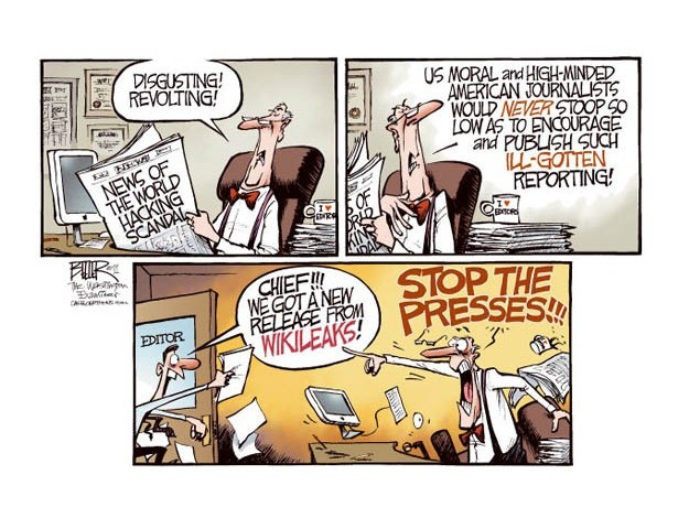 A cartoon makes fun of Rupert Murdoch as the character stops the press for a Wikileaks news release