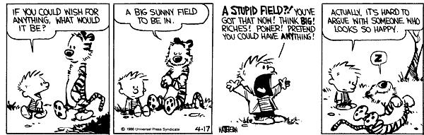 Calvin and Hobbs discuss happiness in this short comic strip
