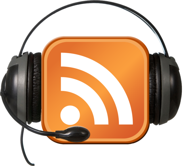 an RSS feed symbol with head sets symbolizes podcasting