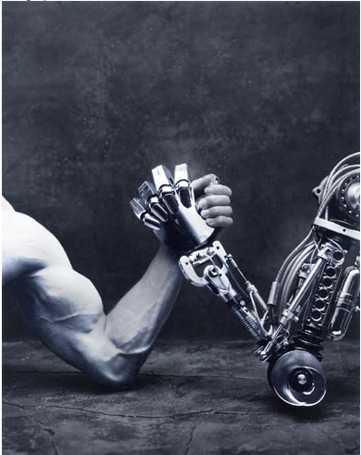 A human arm battles a machine arm and begs the question, who would win?