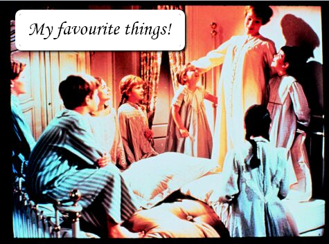 picture depicting the song called my favourite things from the movie sound of music